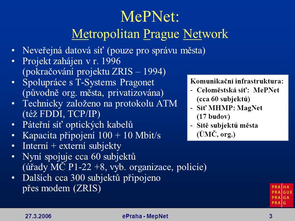 27.3.2006ePraha - MepNet3 MePNet: Metropolitan Prague Network Komunikační infrastruktura: -Celoměstská síť: MePNet (cca 60 subjektů) -Síť MHMP: MagNet