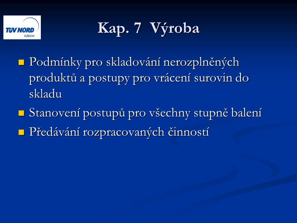 Kap. 7 Výroba Podmínky pro skladování nerozplněných produktů a postupy pro vrácení surovin do skladu Podmínky pro skladování nerozplněných produktů a