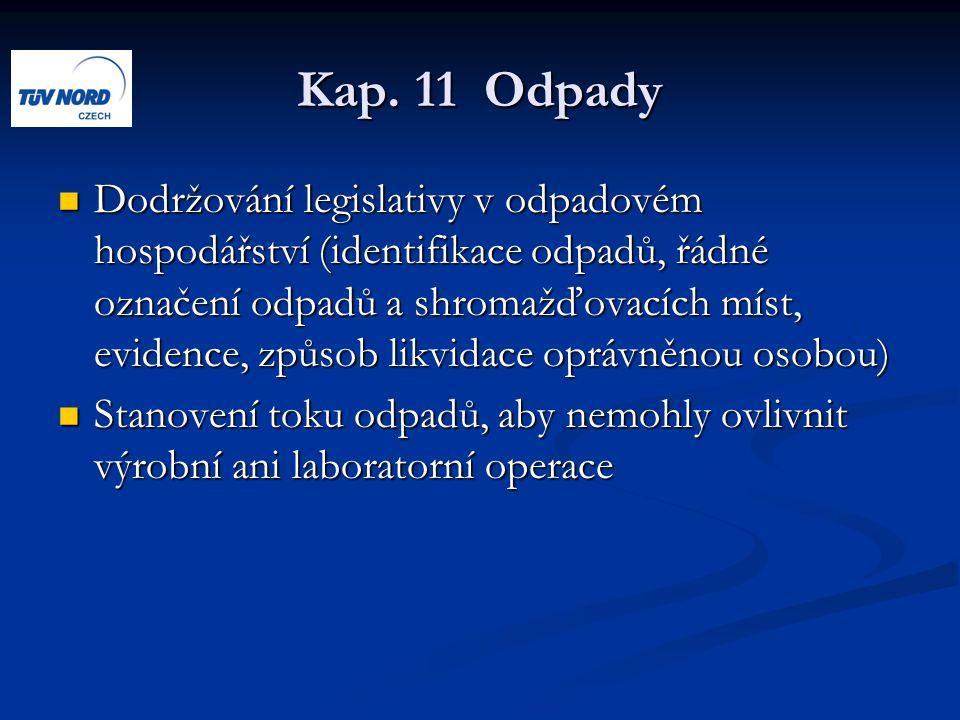 Kap. 11 Odpady Dodržování legislativy v odpadovém hospodářství (identifikace odpadů, řádné označení odpadů a shromažďovacích míst, evidence, způsob li