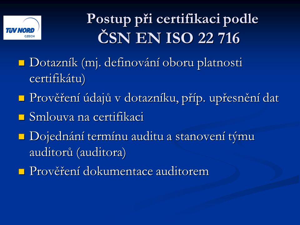 Postup při certifikaci podle ČSN EN ISO 22 716 Postup při certifikaci podle ČSN EN ISO 22 716 Dotazník (mj. definování oboru platnosti certifikátu) Do