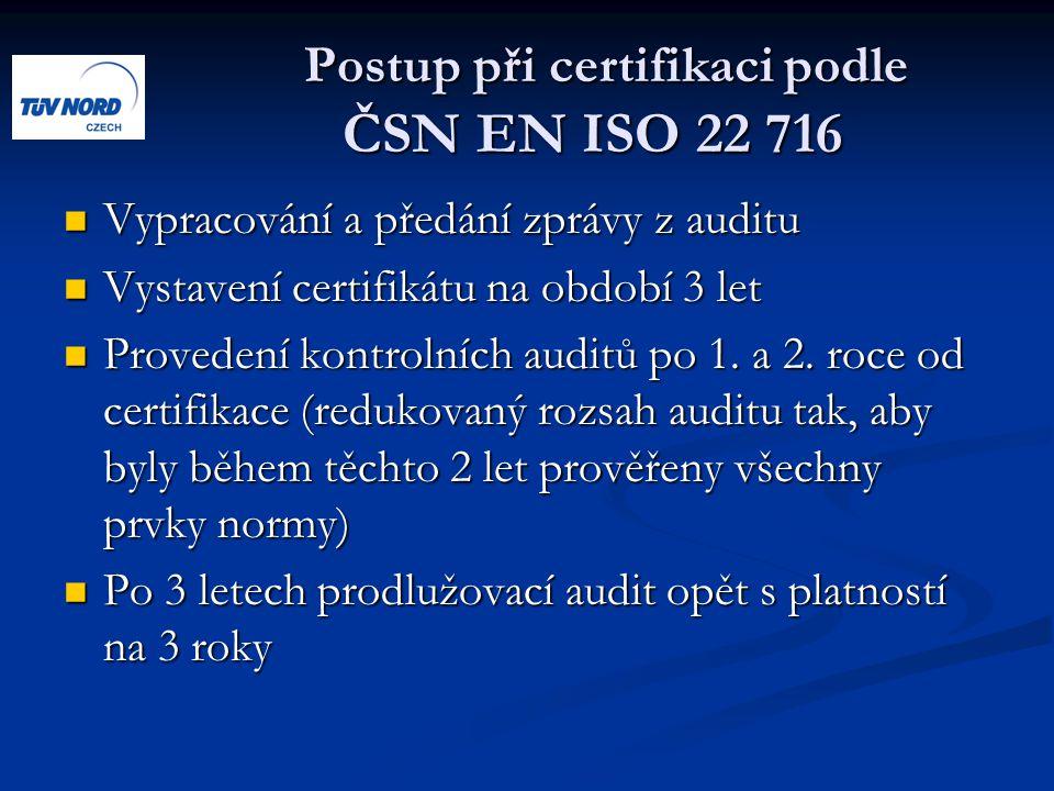 Postup při certifikaci podle ČSN EN ISO 22 716 Postup při certifikaci podle ČSN EN ISO 22 716 Vypracování a předání zprávy z auditu Vypracování a předání zprávy z auditu Vystavení certifikátu na období 3 let Vystavení certifikátu na období 3 let Provedení kontrolních auditů po 1.