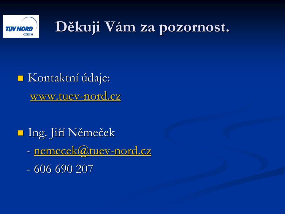 Děkuji Vám za pozornost. Kontaktní údaje: Kontaktní údaje: www.tuev-nord.cz www.tuev-nord.czwww.tuev-nord.cz Ing. Jiří Němeček Ing. Jiří Němeček - nem