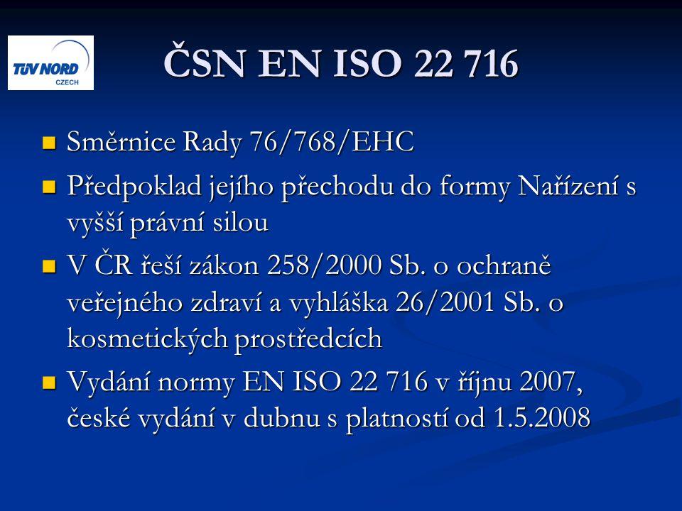 ČSN EN ISO 22 716 Směrnice Rady 76/768/EHC Směrnice Rady 76/768/EHC Předpoklad jejího přechodu do formy Nařízení s vyšší právní silou Předpoklad jejího přechodu do formy Nařízení s vyšší právní silou V ČR řeší zákon 258/2000 Sb.