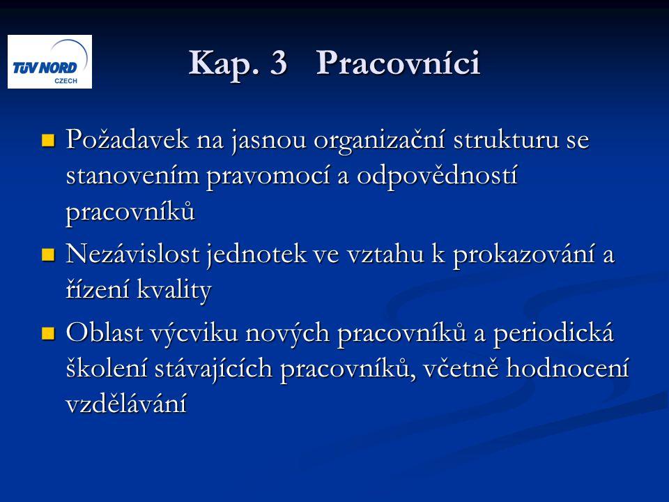 Kap. 3 Pracovníci Požadavek na jasnou organizační strukturu se stanovením pravomocí a odpovědností pracovníků Požadavek na jasnou organizační struktur