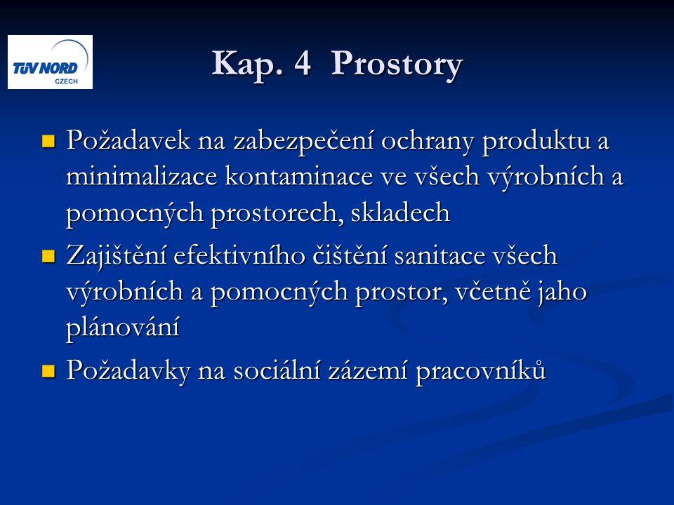 Kap. 4 Prostory Požadavek na zabezpečení ochrany produktu a minimalizace kontaminace ve všech výrobních a pomocných prostorech, skladech Požadavek na