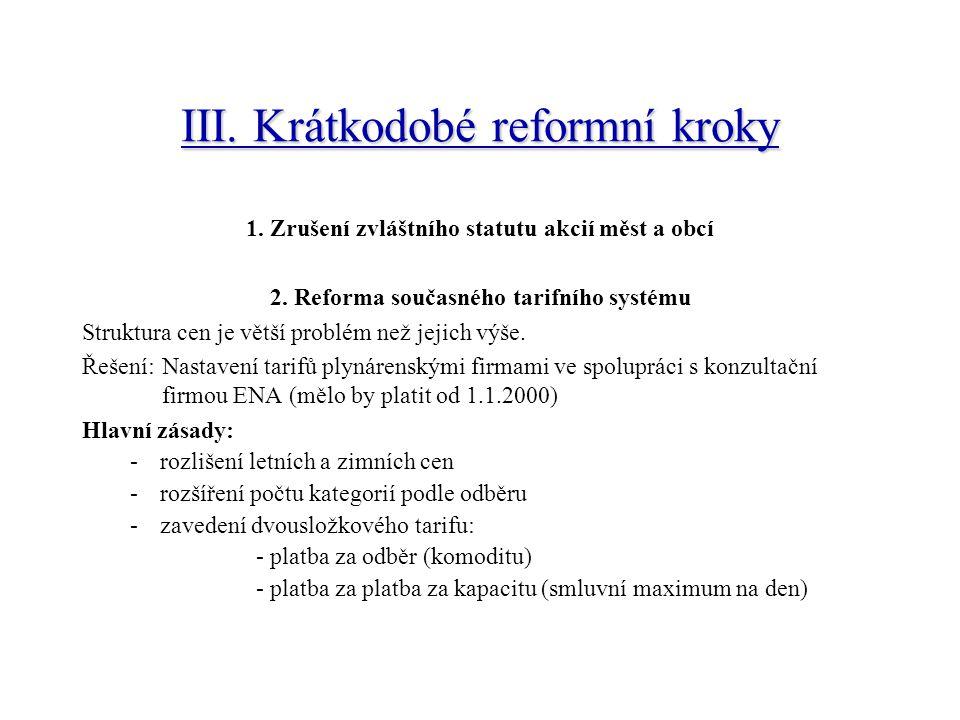 III.Krátkodobé reformní kroky 1. Zrušení zvláštního statutu akcií měst a obcí 2.