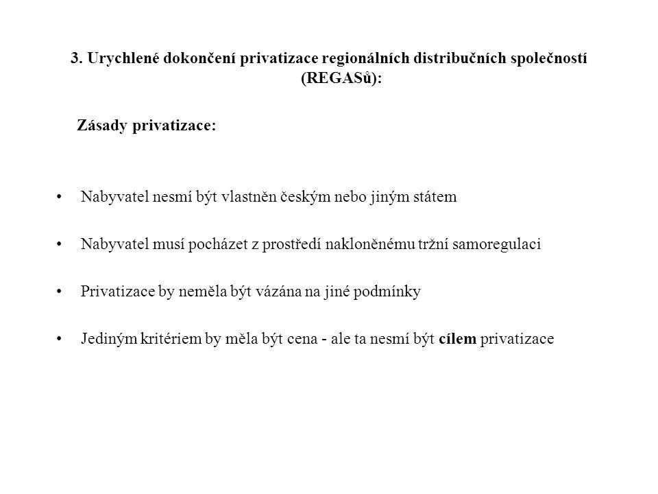 III. Krátkodobé reformní kroky 1. Zrušení zvláštního statutu akcií měst a obcí 2.