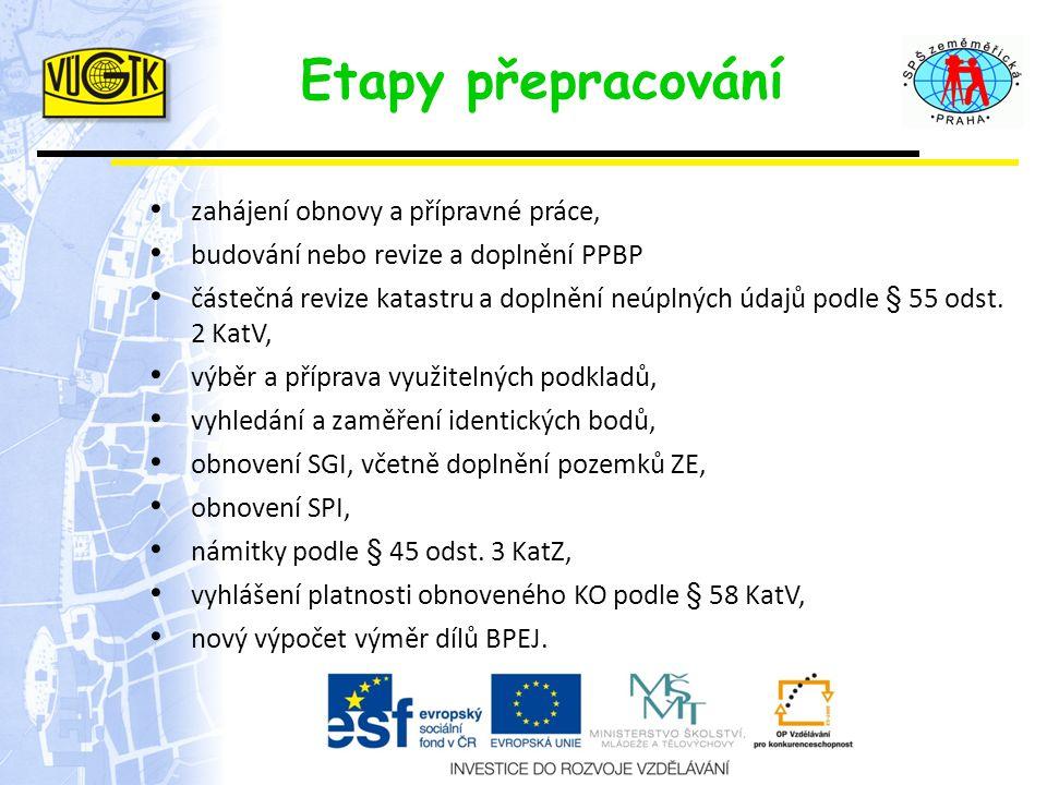 Etapy přepracování zahájení obnovy a přípravné práce, budování nebo revize a doplnění PPBP částečná revize katastru a doplnění neúplných údajů podle §