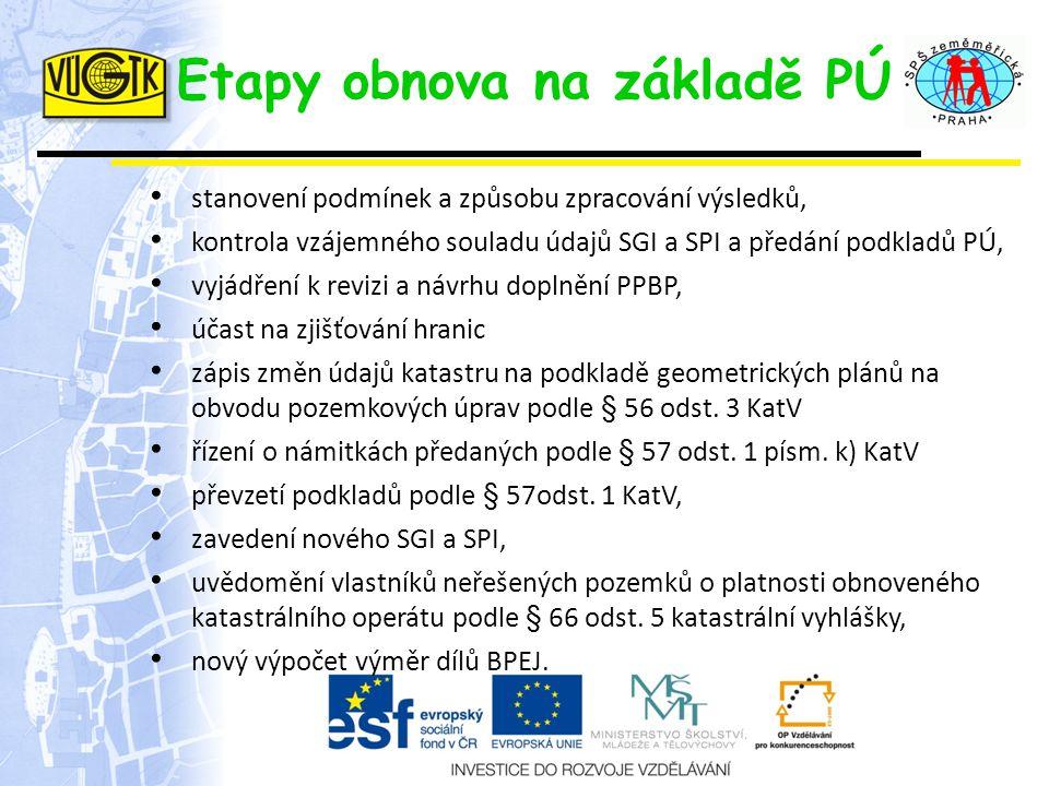 Etapy obnova na základě PÚ stanovení podmínek a způsobu zpracování výsledků, kontrola vzájemného souladu údajů SGI a SPI a předání podkladů PÚ, vyjádř