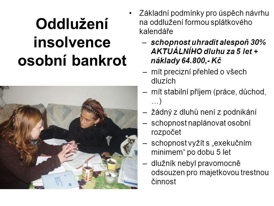 Oddlužení insolvence osobní bankrot Základní podmínky pro úspěch návrhu na oddlužení formou splátkového kalendáře –schopnost uhradit alespoň 30% AKTUÁ