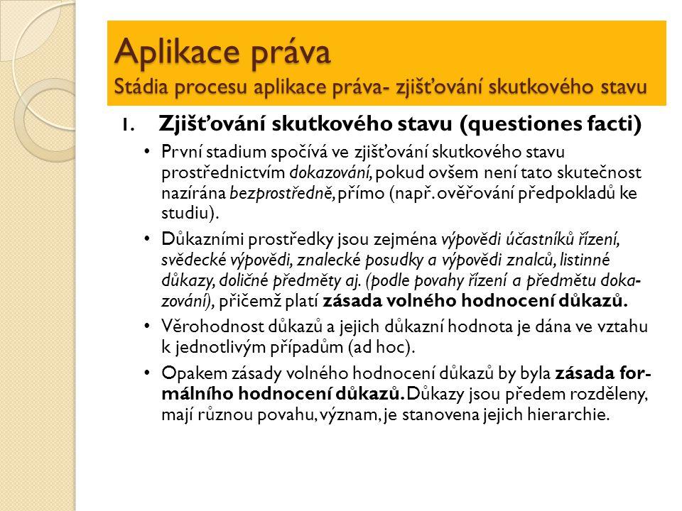 Aplikace práva Stádia procesu aplikace práva- zjišťování skutkového stavu 1. Zjišťování skutkového stavu (questiones facti) První stadium spočívá ve z