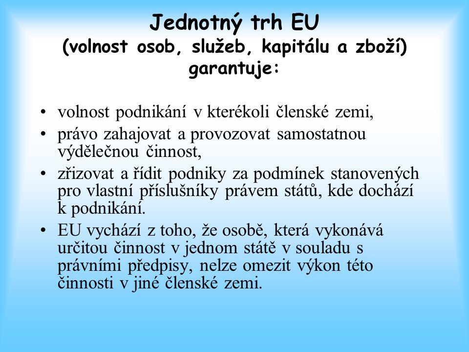 Jednotný trh EU (volnost osob, služeb, kapitálu a zboží) garantuje: volnost podnikání v kterékoli členské zemi, právo zahajovat a provozovat samostatnou výdělečnou činnost, zřizovat a řídit podniky za podmínek stanovených pro vlastní příslušníky právem států, kde dochází k podnikání.