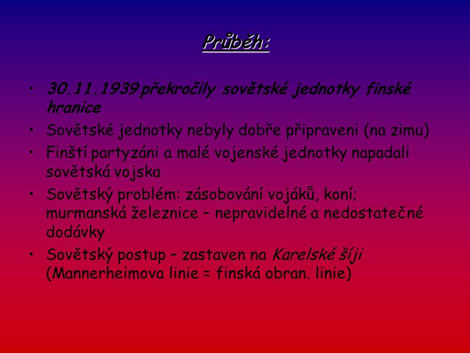 Průběh: 30.11.1939 překročily sovětské jednotky finské hranice Sovětské jednotky nebyly dobře připraveni (na zimu) Finští partyzáni a malé vojenské je