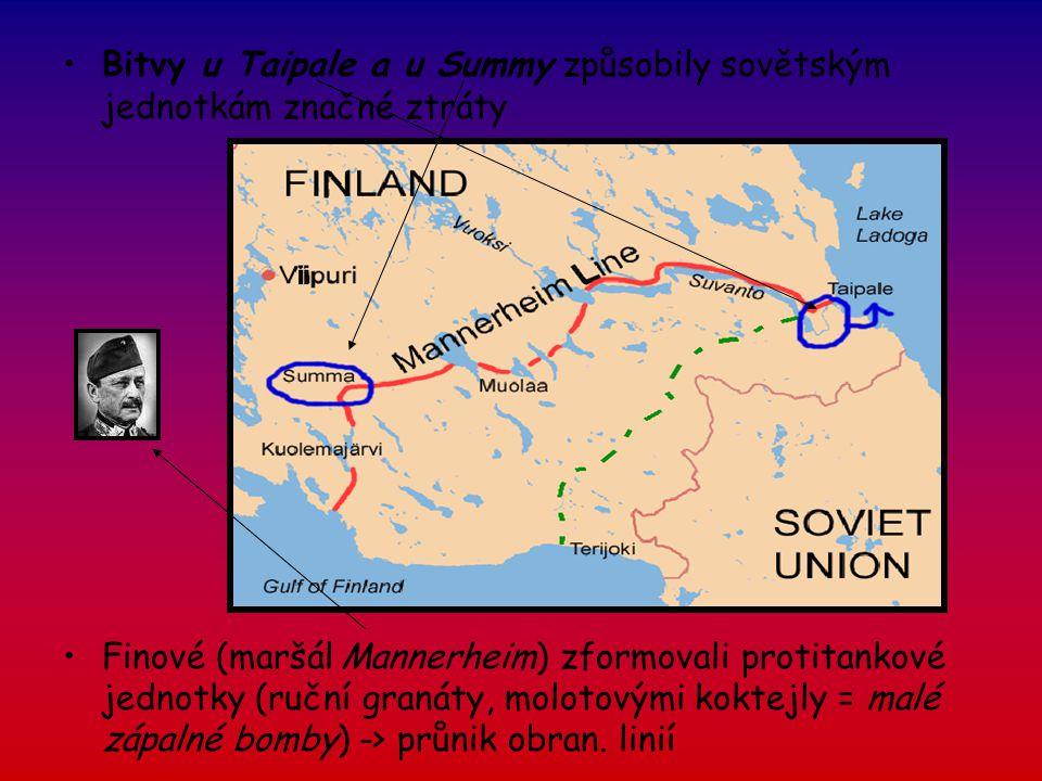 Bitvy u Taipale a u Summy způsobily sovětským jednotkám značné ztráty Finové (maršál Mannerheim) zformovali protitankové jednotky (ruční granáty, molo