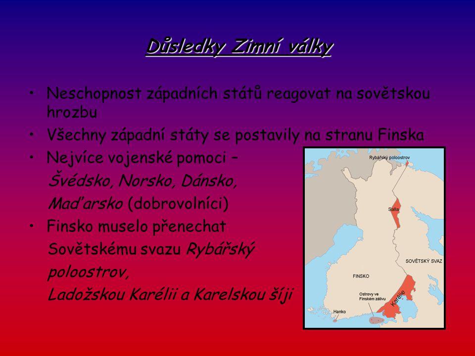"""Hlavní pojmy a data """"Mainilský incident 30.11.1939 překročily sovětské jednotky finské hranice Bitva u Taipale a u Summy Bitva u Suomussalmi (30.12.1939,6.1.1940) Taktika uzavřených kotlů = taktika Motti Merecko -> Timošenko 6.2.1940 hlavní útok SSSR 15.2.1940 se Finové stáhli do vnitrozemí 8.3.1940 bitva okolo řeky Tali Obkličování města Viipury 13.3.1940 boje mezi finskými a sovětskými jednotkami zastaveny -> příměří Finsko přišlo o Rybářský poloostrov, Ladožskou Karélii a Karelskou šíji"""