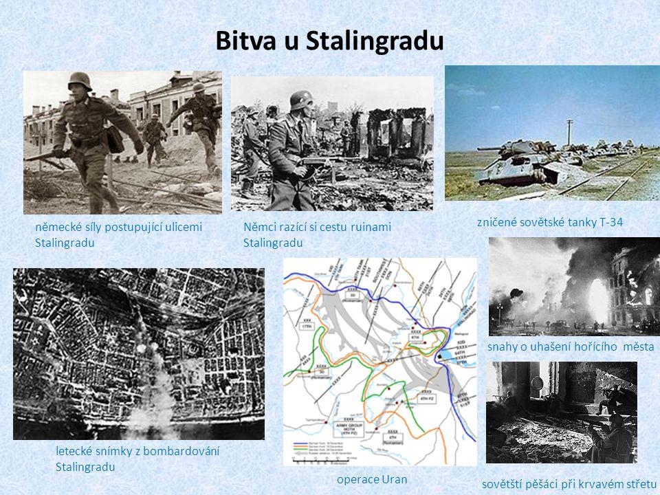 Bitva u Stalingradu německé síly postupující ulicemi Stalingradu Němci razící si cestu ruinami Stalingradu letecké snímky z bombardování Stalingradu z