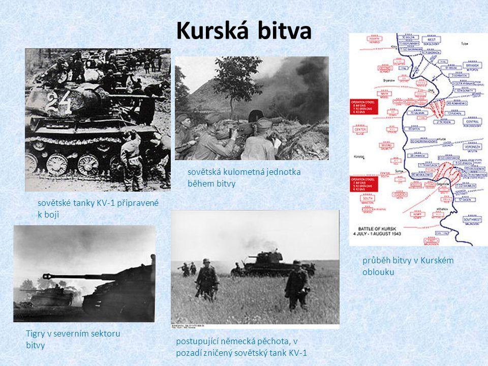 Kurská bitva sovětské tanky KV-1 připravené k boji průběh bitvy v Kurském oblouku sovětská kulometná jednotka během bitvy Tigry v severním sektoru bit