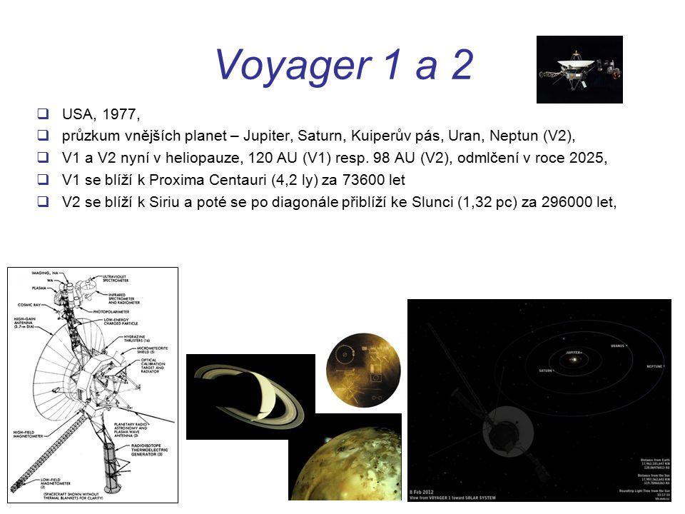 Voyager 1 a 2  USA, 1977,  průzkum vnějších planet – Jupiter, Saturn, Kuiperův pás, Uran, Neptun (V2),  V1 a V2 nyní v heliopauze, 120 AU (V1) resp.