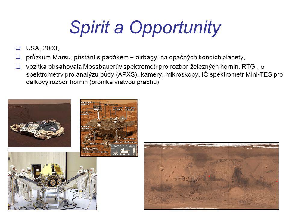 Spirit a Opportunity  USA, 2003,  průzkum Marsu, přistání s padákem + airbagy, na opačných koncích planety,  vozítka obsahovala Mossbauerův spektrometr pro rozbor železných hornin, RTG,  spektrometry pro analýzu půdy (APXS), kamery, mikroskopy, IČ spektrometr Mini-TES pro dálkový rozbor hornin (proniká vrstvou prachu)