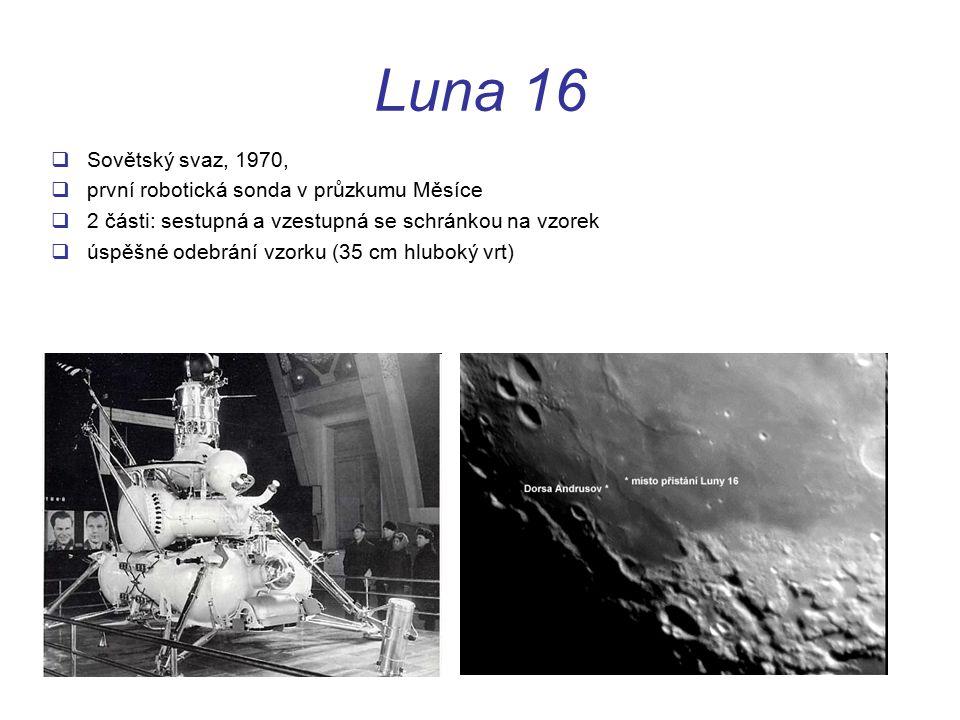 Luna 16  Sovětský svaz, 1970,  první robotická sonda v průzkumu Měsíce  2 části: sestupná a vzestupná se schránkou na vzorek  úspěšné odebrání vzorku (35 cm hluboký vrt)