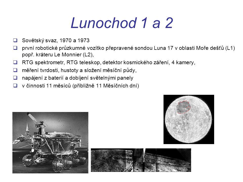 Lunochod 1 a 2  Sovětský svaz, 1970 a 1973  první robotické průzkumné vozítko přepravené sondou Luna 17 v oblasti Moře dešťů (L1) popř.