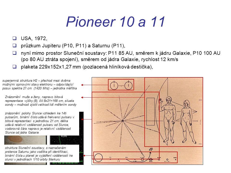 Pioneer 10 a 11  USA, 1972,  průzkum Jupiteru (P10, P11) a Saturnu (P11),  nyní mimo prostor Sluneční soustavy: P11 85 AU, směrem k jádru Galaxie, P10 100 AU (po 80 AU ztráta spojení), směrem od jádra Galaxie, rychlost 12 km/s  plaketa 229x152x1,27 mm (pozlacená hliníková destička), superjemná struktura H2 – přechod mezi dvěma možnými spinovými stavy elektronu – odpovídající posuv spektra 21 cm (1420 Mhz) – jednotka měřítka znázornění polohy Slunce vzhledem ke 14ti pulsarům, binární číslo udává frekvenci pulsaru v bitové reprezentaci s jednotkou 21 cm, délka udává relativní vzdálenost pulsaru od Slunce, vodorovná čára napravo je relativní vzdálenost Slunce od jádra Galaxie struktura Sluneční soustavy, s naznačenám prstence Saturnu jako vodítka při identifikaci, binární čísla u planet je vyjádření vzdálenosti ke slunci v jednotkach 1/10 orbity Merkuru Znázornění muže a ženy, napravo bitová reprezentace výšky (8), čili 8x21=168 cm, silueta sondy – možnost zjistit velikost lidí měřením sondy