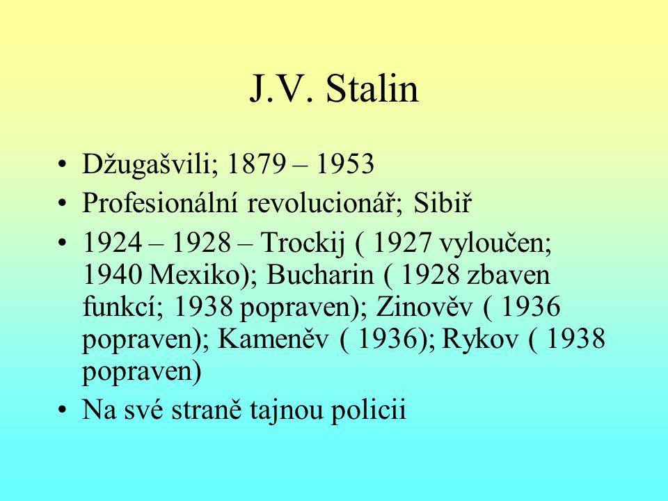 J.V. Stalin Džugašvili; 1879 – 1953 Profesionální revolucionář; Sibiř 1924 – 1928 – Trockij ( 1927 vyloučen; 1940 Mexiko); Bucharin ( 1928 zbaven funk