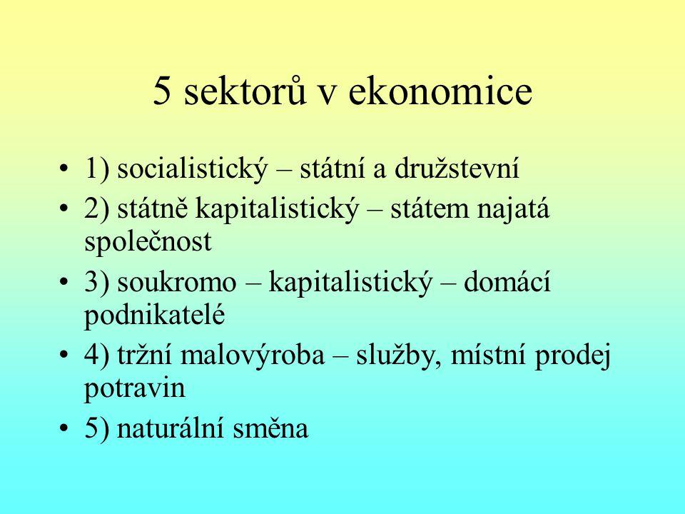 5 sektorů v ekonomice 1) socialistický – státní a družstevní 2) státně kapitalistický – státem najatá společnost 3) soukromo – kapitalistický – domácí podnikatelé 4) tržní malovýroba – služby, místní prodej potravin 5) naturální směna