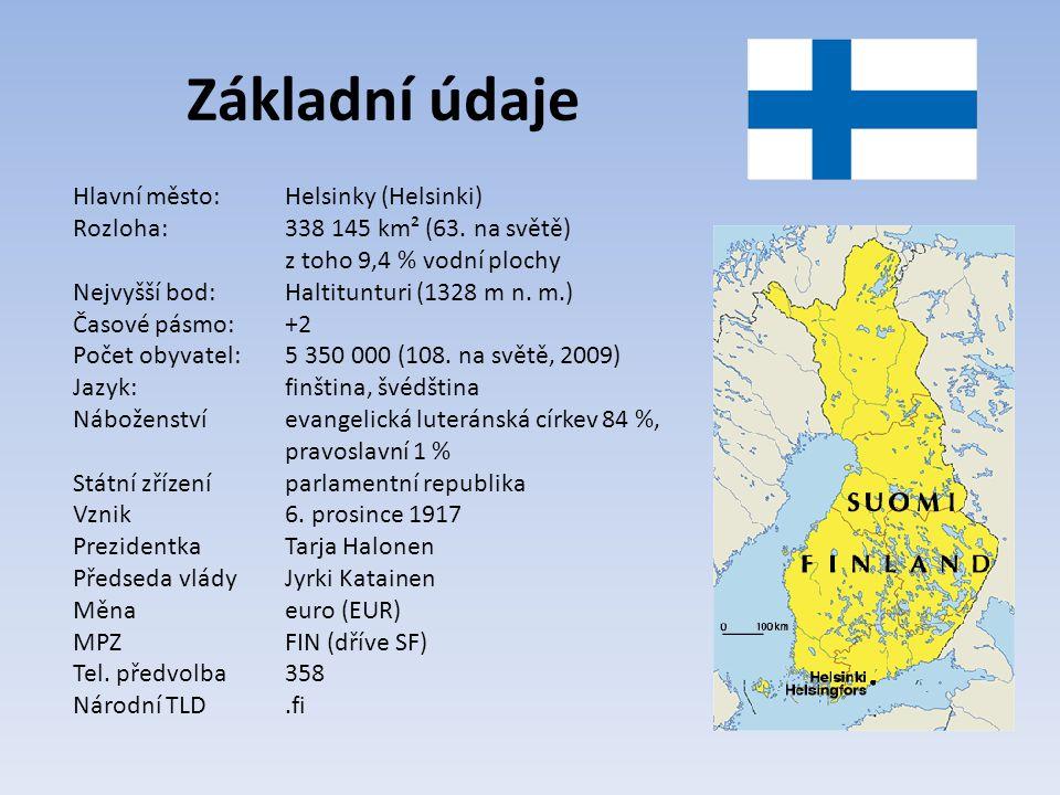 Základní údaje Hlavní město: Helsinky (Helsinki) Rozloha: 338 145 km² (63.