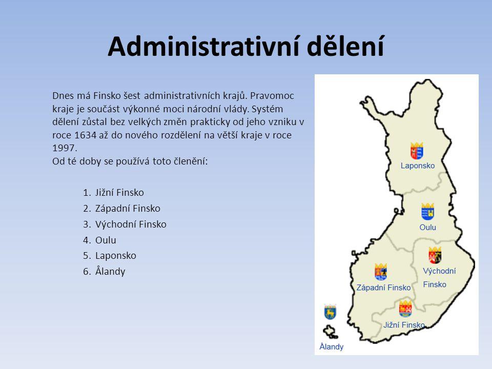 Administrativní dělení Dnes má Finsko šest administrativních krajů.