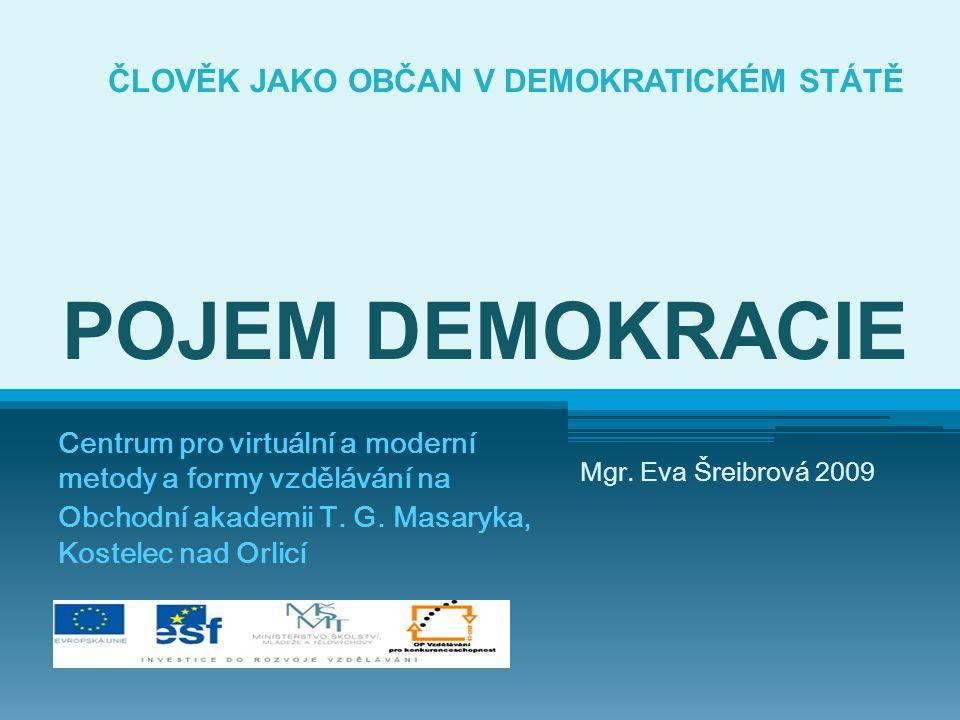 ČLOVĚK JAKO OBČAN V DEMOKRATICKÉM STÁTĚ POJEM DEMOKRACIE Centrum pro virtuální a moderní metody a formy vzdělávání na Obchodní akademii T. G. Masaryka