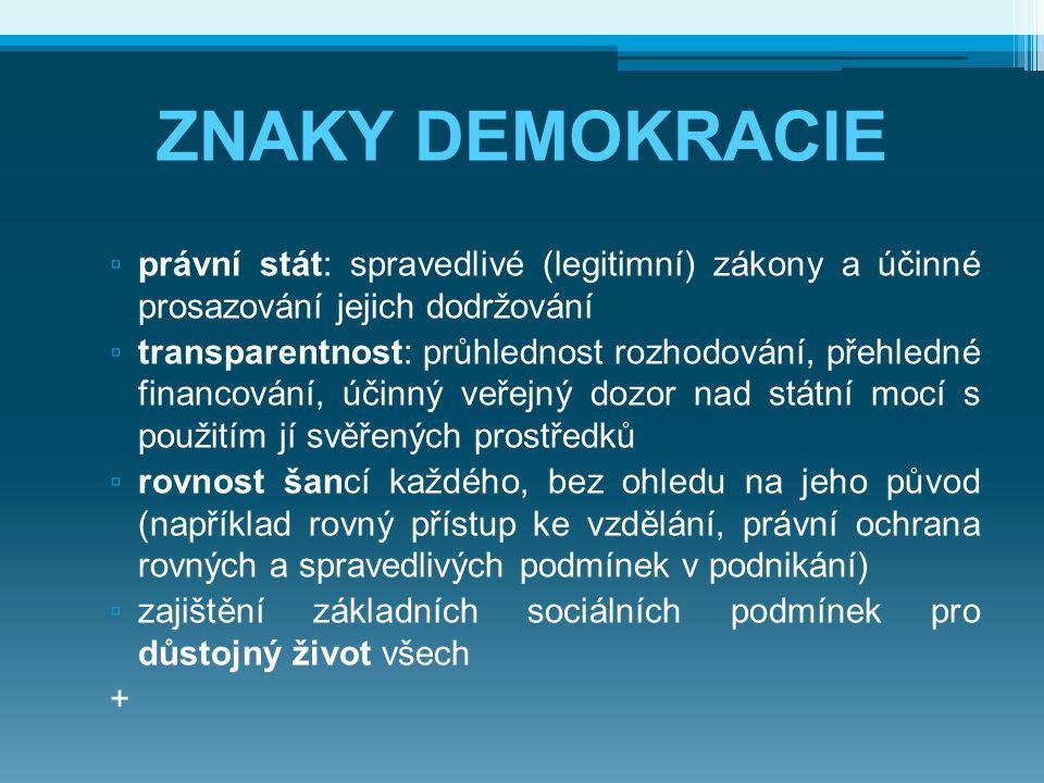 ZNAKY DEMOKRACIE ▫ právní stát: spravedlivé (legitimní) zákony a účinné prosazování jejich dodržování ▫ transparentnost: průhlednost rozhodování, přeh