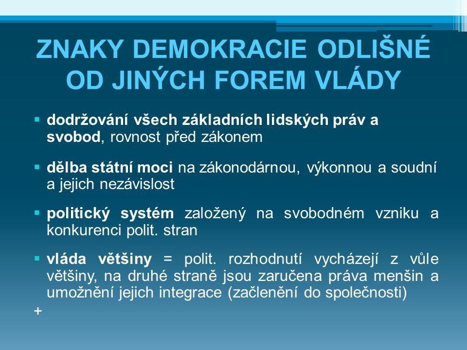 ZNAKY DEMOKRACIE ODLIŠNÉ OD JINÝCH FOREM VLÁDY  dodržování všech základních lidských práv a svobod, rovnost před zákonem  dělba státní moci na zákon