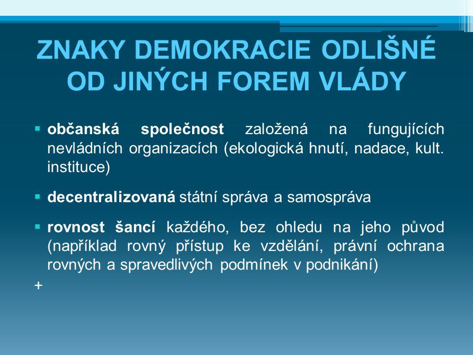 ZNAKY DEMOKRACIE ODLIŠNÉ OD JINÝCH FOREM VLÁDY  občanská společnost založená na fungujících nevládních organizacích (ekologická hnutí, nadace, kult.