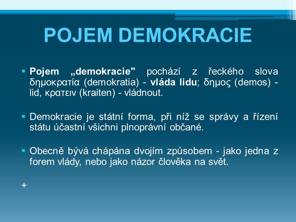 "POJEM DEMOKRACIE  Pojem ""demokracie"