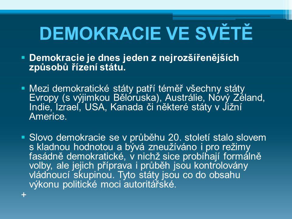DEMOKRACIE VE SVĚTĚ  Demokracie je dnes jeden z nejrozšířenějších způsobů řízení státu.  Mezi demokratické státy patří téměř všechny státy Evropy (s
