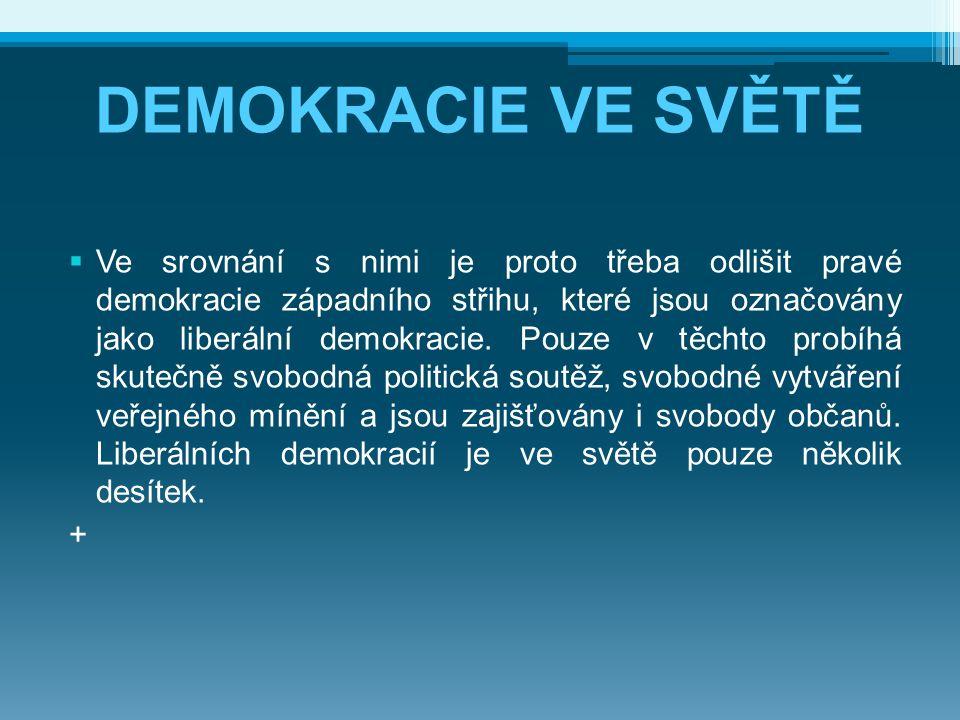 DEMOKRACIE VE SVĚTĚ  Ve srovnání s nimi je proto třeba odlišit pravé demokracie západního střihu, které jsou označovány jako liberální demokracie. Po