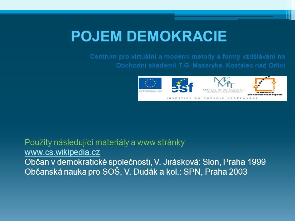 POJEM DEMOKRACIE Centrum pro virtuální a moderní metody a formy vzdělávání na Obchodní akademii T.G. Masaryka, Kostelec nad Orlicí Použity následující