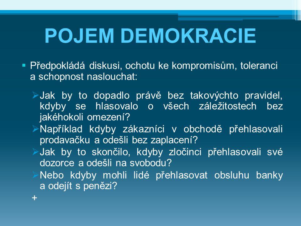 POJEM DEMOKRACIE  Předpokládá diskusi, ochotu ke kompromisům, toleranci a schopnost naslouchat:  Jak by to dopadlo právě bez takovýchto pravidel, kd