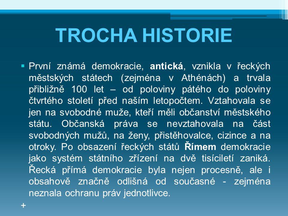 TROCHA HISTORIE  První známá demokracie, antická, vznikla v řeckých městských státech (zejména v Athénách) a trvala přibližně 100 let – od poloviny p