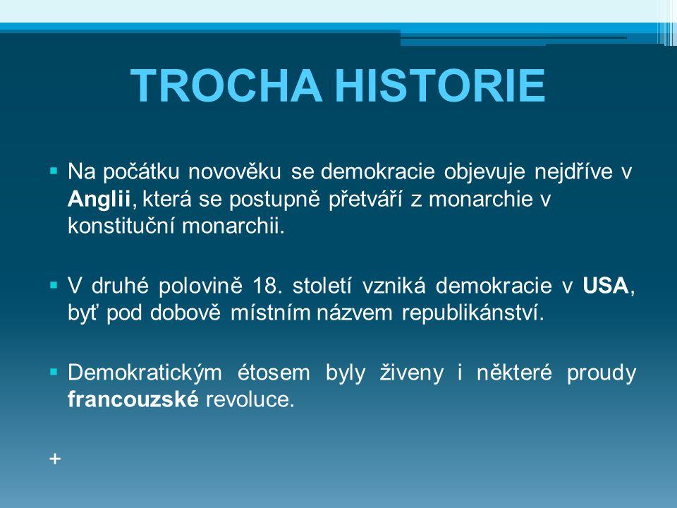 TROCHA HISTORIE  Na počátku novověku se demokracie objevuje nejdříve v Anglii, která se postupně přetváří z monarchie v konstituční monarchii.  V dr