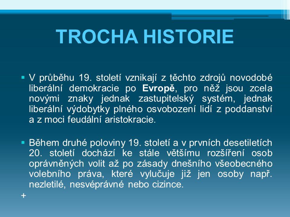 TROCHA HISTORIE  V průběhu 19. století vznikají z těchto zdrojů novodobé liberální demokracie po Evropě, pro něž jsou zcela novými znaky jednak zastu