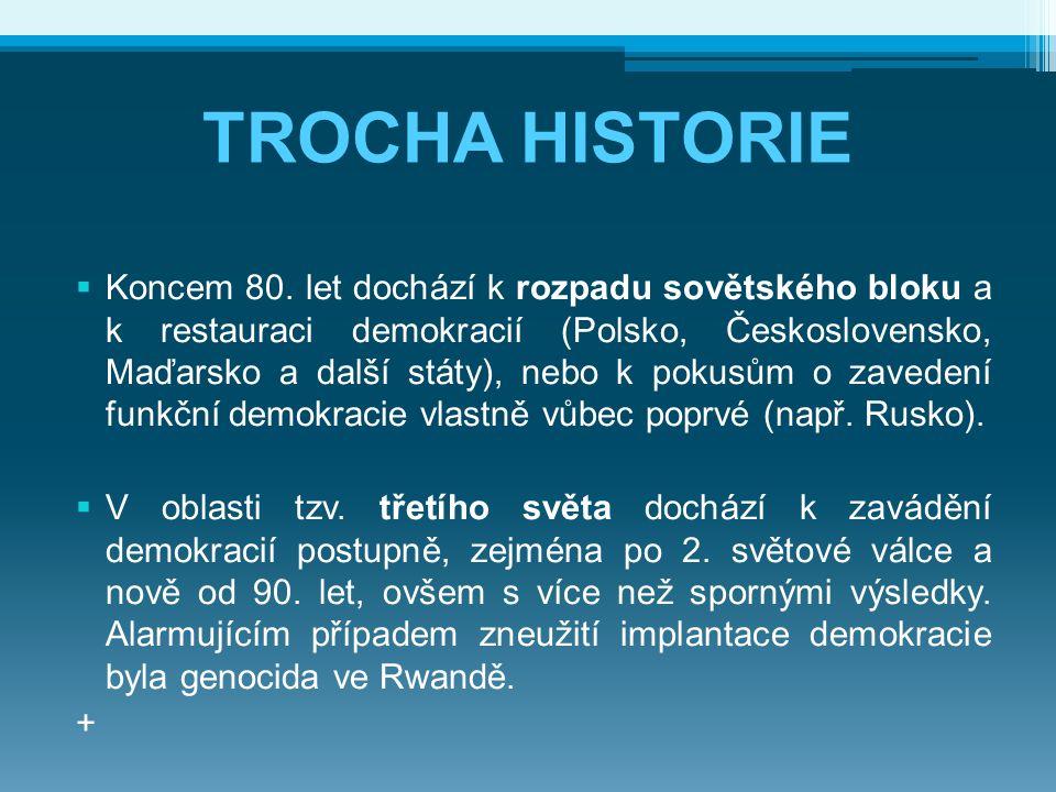 TROCHA HISTORIE  Koncem 80. let dochází k rozpadu sovětského bloku a k restauraci demokracií (Polsko, Československo, Maďarsko a další státy), nebo k