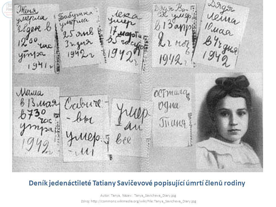 Deník jedenáctileté Tatiany Savičevové popisující úmrtí členů rodiny Autor: Tanya, Název: Tanya_Savicheva_Diary.jpg Zdroj: http://commons.wikimedia.or