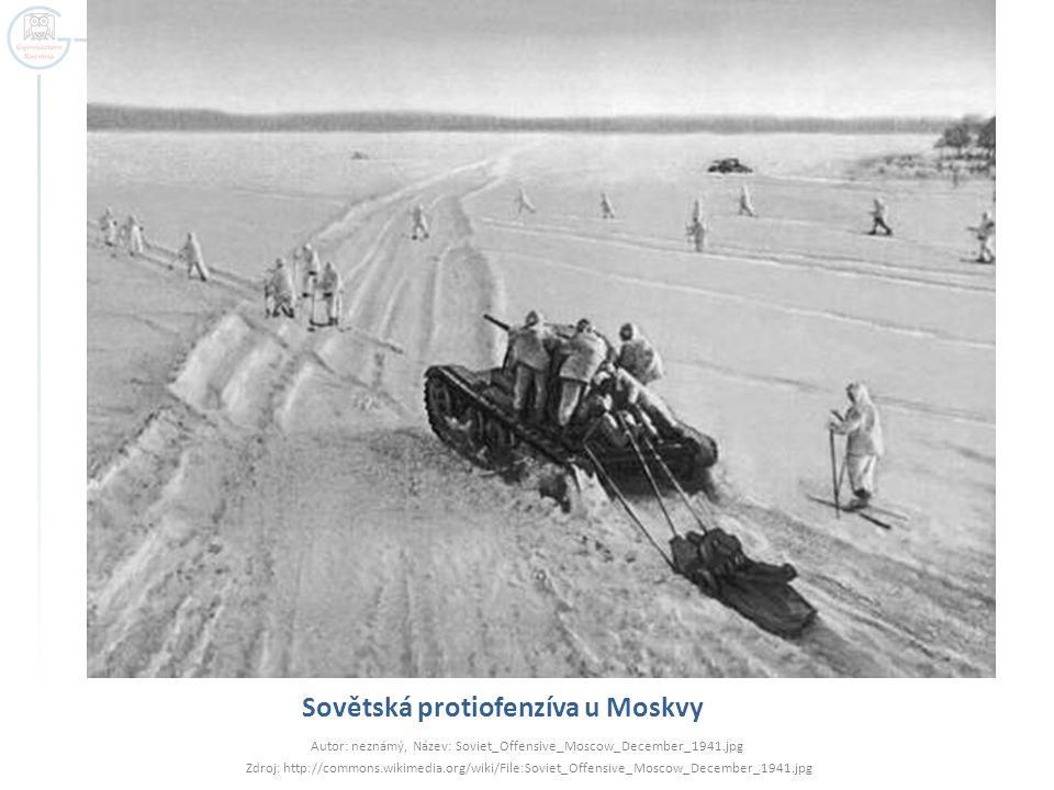 Sovětská protiofenzíva u Moskvy Autor: neznámý, Název: Soviet_Offensive_Moscow_December_1941.jpg Zdroj: http://commons.wikimedia.org/wiki/File:Soviet_
