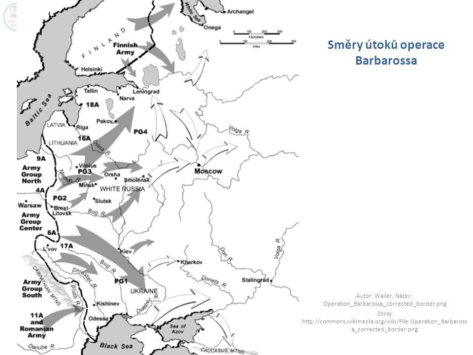 Směry útoků operace Barbarossa Autor: Wailer, Název: Operation_Barbarossa_corrected_border.png Zdroj: http://commons.wikimedia.org/wiki/File:Operation