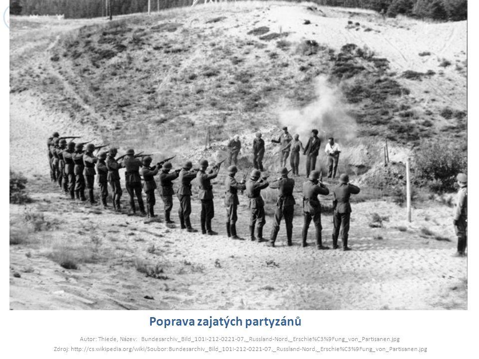 Poprava zajatých partyzánů Autor: Thiede, Název: Bundesarchiv_Bild_101I-212-0221-07,_Russland-Nord,_Erschie%C3%9Fung_von_Partisanen.jpg Zdroj: http://