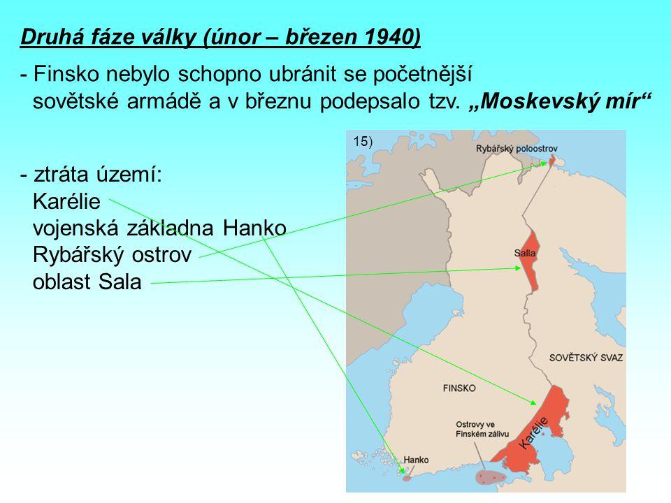 Druhá fáze války (únor – březen 1940) - Finsko nebylo schopno ubránit se početnější sovětské armádě a v březnu podepsalo tzv.