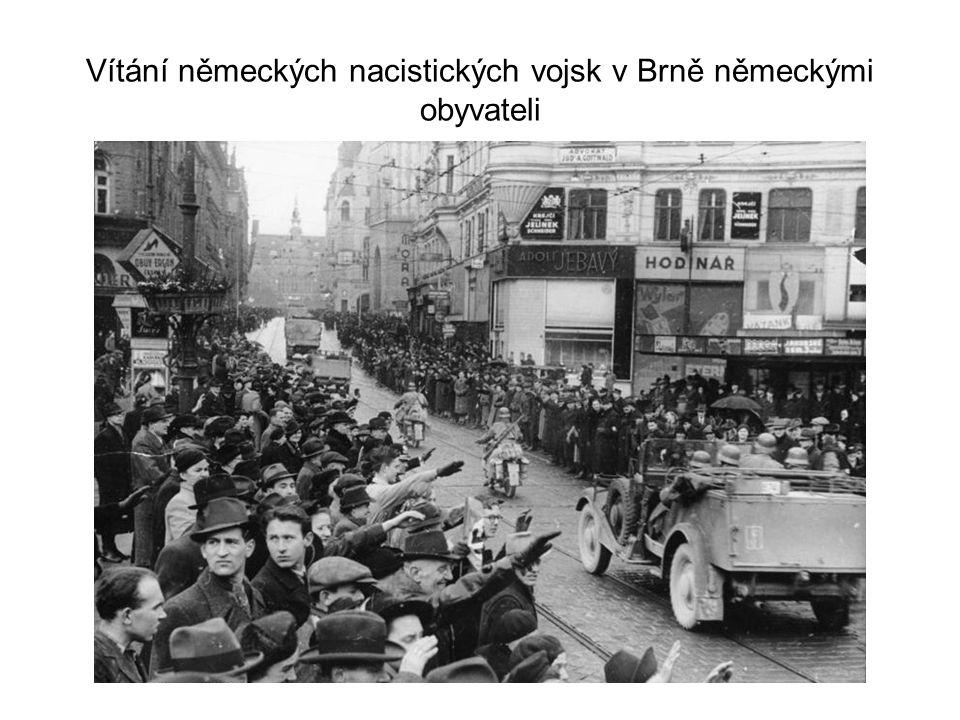 Vítání německých nacistických vojsk v Brně německými obyvateli