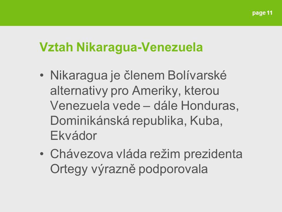 Vztah Nikaragua-Venezuela Nikaragua je členem Bolívarské alternativy pro Ameriky, kterou Venezuela vede – dále Honduras, Dominikánská republika, Kuba, Ekvádor Chávezova vláda režim prezidenta Ortegy výrazně podporovala page 11